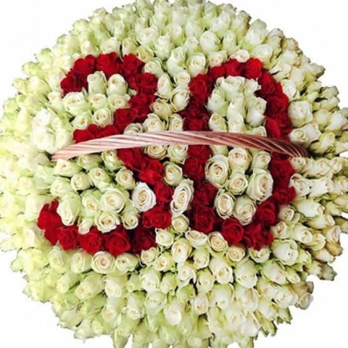 Огромная корзина 301 крупная роза R314