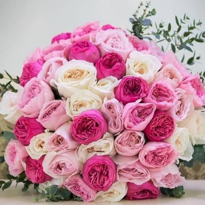 Большой букет 45 пионовидных роз R409