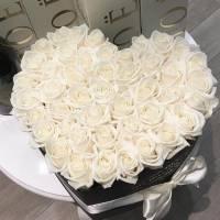 Сердце 35 крупных белых роз R155